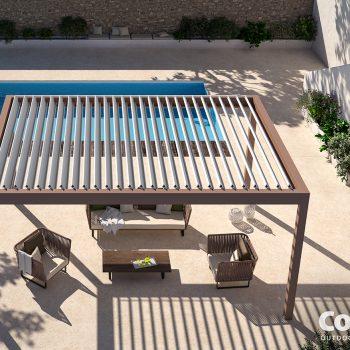Lamellendak aan het zwembad van Corradi